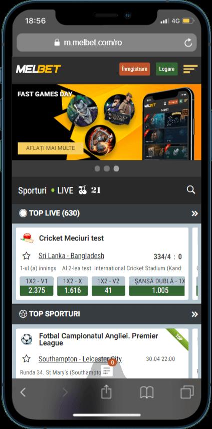Interfața mobilă a site-ului web